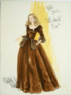 "Boceto de Edtih Head para Bette Davis en ""Eva al desnudo""(1950)"