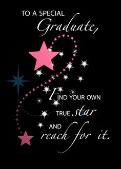 The pink stars stand out against the black background. Very special for the girl graduate. Free online Graduation Star Congrats For A Girl ecards on Congratulations Graduation Congratulations Message, Congratulations Quotes Achievement, Congrats Wishes, Graduation Message, Congratulations Graduate, Graduation Card Sayings, Happy Graduation Day, Graduation Cards Handmade, Birthday Quotes