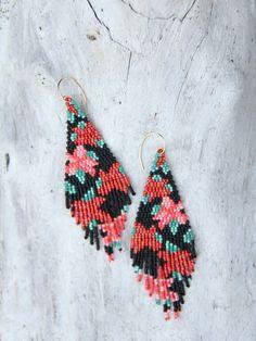 Fringe Earrings, Bead Earrings, Crochet Earrings, Jewelry Patterns, Beading Patterns, Seed Bead Jewelry, Beaded Jewelry, Brick Stitch Earrings, Bead Crafts