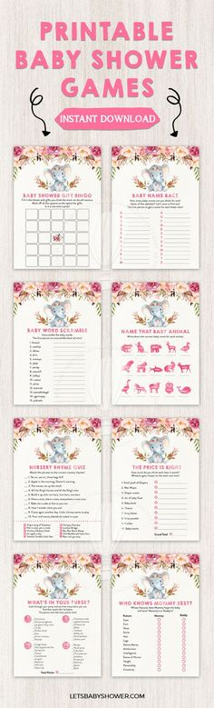 Elephant Baby Shower for Girls Baby Shower Game Printables