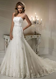 A-Line Strapless Chapel Trailing Tulle And Appliqued Wedding Dresses