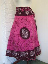 Long Batik Wrap skirt- Pink £20