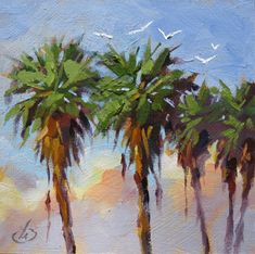 ONE DOLLAR AUCTION. SEA GULLS, PALM TREES 6x6 OIL PAINTING by TOM BROWN, painting by artist Tom Brown