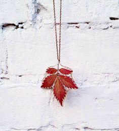 Autumn leaf in resin