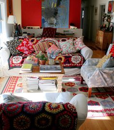 bohemian-I love the generic sofa/chair covers turned stylish and one of a kind. And the granny square blanket.