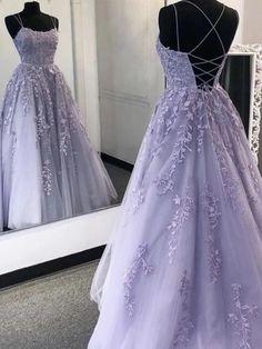 Backless Purple Lace Prom Dresses, Open Back Purple Lace Formal Evening Dresses - Bal de Promo Deb Dresses, Pretty Prom Dresses, Quince Dresses, Lace Evening Dresses, Ball Dresses, Cute Dresses, Purple Prom Dresses, Lavender Prom Dresses, Princess Prom Dresses
