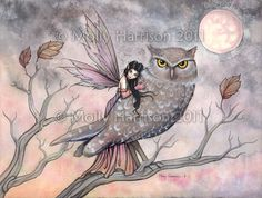 Friendship - Original Fairy and Owl Fine Art Giclee PRINT by Molly Harrison -   Reminds me of myself (the Fairy) and my good friend Kellie (the Owl)