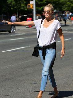 Gigi Hadid, white t-shirt, blue jeans, basic, street style