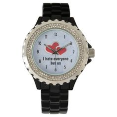 2 Red Hearts - I Hate Everyone But Us Typography Wristwatch - red gifts color style cyo diy personalize unique