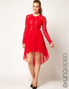 ASOS CURVE Skater Dress With Lace Insert And High Low Hem