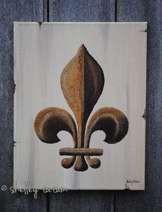 Fleur de Lis Original Acrylic Canvas by SugarCreekArt on Etsy