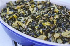 Easy recipe for collard greens cooked with onions, garlic, ginger and coconut milk for a simple, nutritious and tasty #Whole30 compliant vegetarian dish.