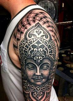 tatuajes de budas en el brazo grandes