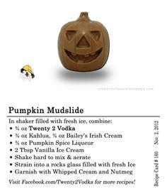 Pumpkin Mudslide Cocktail Recipe - Vodka, Kahlua, Irish Cream, Ice Cream, Whipped Cream, Nutmeg