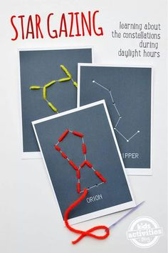 Stargazing With Kids – Free Fun Constellation Sewing Cards. Kids will have fun learning about their favorite stars and constellations with these fun sewing cards, also called lacing cards or lace-up cards. Kids Learning Activities, Science Activities, Science Projects, Motor Activities, Science Education, Physical Education, Summer Activities, Brownies Activities, Cub Scout Activities
