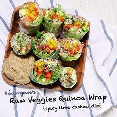 { Quinoa Vegetables Rice Paper Wrap } Click for recipe.