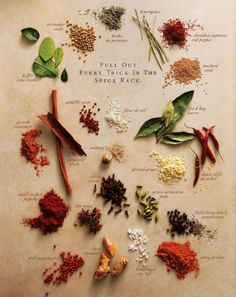 'Pull Out Everu Trick in the Spice Rack' -Herbs & Spices by johanzammit: Click through for an informative article. Beautiful image from a magazine ad? tips of cooking cooking Cooking Photos, Cooking Tips, Spice Chart, Spices And Herbs, Spice Mixes, Spice Racks, Kraut, Food Hacks, Gastronomia