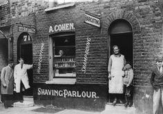 Abraham Cohen's barber shop,Whitechapel 1923