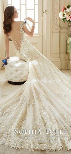 sophia tolli mermaid wedding dresses with illusion low back spring 2016 Y11651