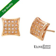 Find More Stud Earrings Information about Fashion 2015 New Square Shape Earrings Stud Micro Pave Crystal Rose Gold Plated Korean Style Crystal Earrings Gift Ulove R401,High Quality earrings wrap,China earring card display rack Suppliers, Cheap earrings bar from ULove Fashion Jewelry Store on Aliexpress.com