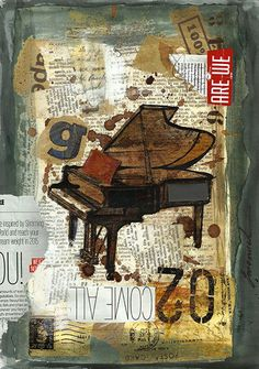 Print Art canvas christmas gift Poster Collage Abstract Mixed Media Art Painting Illustration Piano Music Autographed Emanuel M. Ologeanu