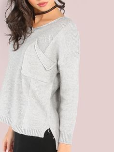Online shopping for Torn Pocket V Neck Knit Sweater HEATHER GREY from a great selection of women's fashion clothing & more at MakeMeChic.COM.