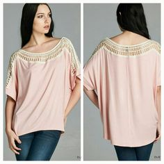 The Kylie Top Sizes S M L Boat neck crochet  detailed top in a dusty pink Material is rayon and spandex  Wear with your favorite leggings or jeans  Loose fit style Sizes available S M L  Please indicate your size  PRICE FIRM UNLESS BUNDLED  Follow me on Facebook / Sweet-bb Boutique  Tops Tunics