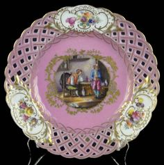 19th Century Dresden Porcelain Reticulated and Hand Painted Plate