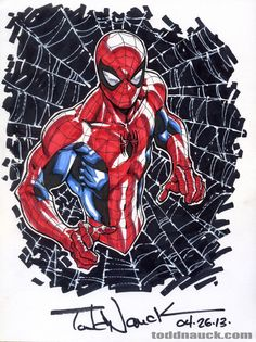 Copic marker drawing of Spiderman by Todd Nauck Comic Book Characters, Marvel Characters, Comic Character, Comic Books Art, Marvel Art, Marvel Dc Comics, Marvel Heroes, Spiderman Art, Spiderman Sketches