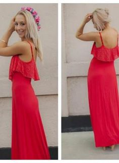 red maxi dress #fallfashion #crochet