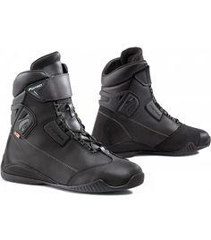JET Botas Zapatos Moto Motocicleta Hombre Casual Armadura Impermeable Mezclilla Cuero 42 EU, Negro Gris