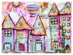 Art Print, Collage Work, Whimsical Houses,Blooming (love the texture and layers and whimsy houses) Mix Media, Mixed Media Art, Kitsch, Art Journal Pages, Art Journaling, Decoupage, House Drawing, Art Journal Inspiration, Journal Ideas