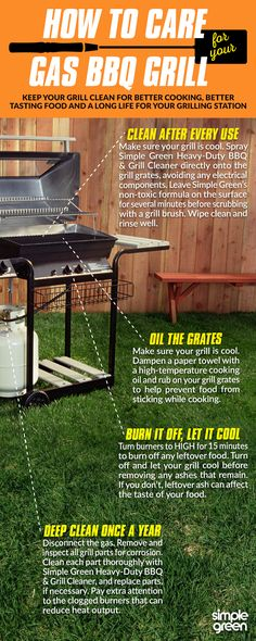 Keep your BBQ grill clean for better cooking, better tasting food and a long life for your gas BBQ grill Deep Cleaning Tips, Green Cleaning, House Cleaning Tips, Cleaning Hacks, Grilling Tips, Grilling Recipes, Bbq Tips, All You Need Is, Bbq Grill Cleaner