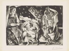 Blind Minotaur Led by Girl in Night - Pablo Picasso – Art Commerce Pablo Picasso, Kunst Picasso, Art Picasso, Picasso Prints, Picasso Portraits, Picasso Drawing, Pigeon, Trinidad, Art Commerce