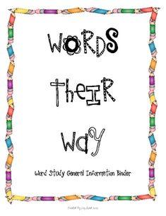 Words Their Way- Binder Information