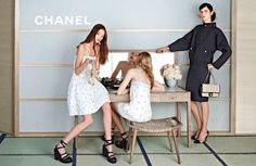 Chanel Spring 2013  Yumi Lambert, Ondria Hardin, and Stella Tennant photographed by Karl Lagerfeld.