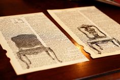 """Such a cool idea - get an old dictionary, pull out the page with a relevant word - in this case """"sit"""" - run through the laser printer with an image of your choice - frame and hang. I love that you could pick a million things. I might do an owl over the word """"wise"""" for my guest room."""