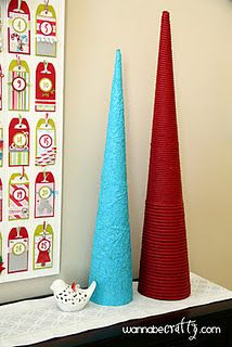 tall christmas tree cones posterboard turquoise red tinfoil rope    @Dieanna Estes.  We need to use posterboard for our trees.