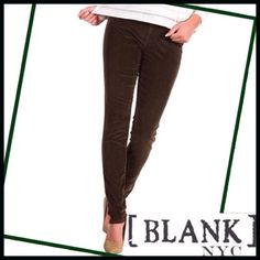 Olive Green Corduroy Skinnies BRAND NEW Olive Green Corduroy Skinnies- these are brand new from Bloomingdales. They are super soft and the stretch makes them VERY comfortable. They would look great for an evening dressed up with some heels or wedges. BlankNYC/Bloomingdales Pants