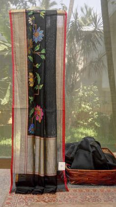This beautiful black sari is made of Benares kora with a floral pattern in jamdani work. The border and pallu are in oil black, apple red and silver zari giving it a contemporary finish Wedding Car Deco, Sari Design, Silk Sarees, Saris, Red Apple, Indian Wear, Contemporary, Classic, Floral