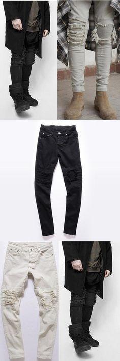 Men's High Street Destroyed Fold Wrinkled  Straight Leg Type Biker Stretch Jeans Metrosexual Slim Retro Old Jeans