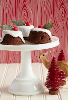 Mini Chocolate Christmas Puddings recipe...made in a muffin tin, these look so pretty!