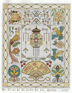 Asian style cross stitch chart Cross Stitch Samplers, Cross Stitching, Cross Stitch Embroidery, Embroidery Patterns, Embroidery Sampler, Small Cross Stitch, Cross Stitch Designs, Cross Stitch Patterns, Cross Stitch Boards