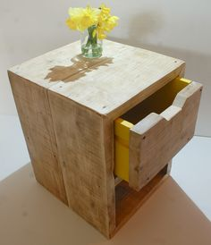 reclaimed scaffold board bedside table with yellow drawer by Tranquilo Living