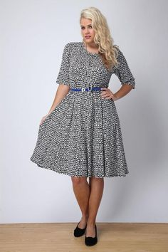 Black And White Printed Skater Dress With Cobalt Belt, for Gwynnie Bee