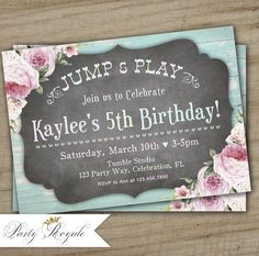 Bounce House Birthday Invitation / Bounce House Party / Jump and Play / Gold Stars Florals / Bounce House Invites / Chalkboard Pastel Bounce House Birthday, Bounce House Parties, Birthday Party At Park, 10th Birthday Parties, House Party, Digital Invitations, Printable Invitations, Wild One Birthday Invitations, Invites