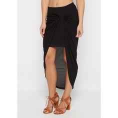 Black Knotted Rib Knit Midi Skirt | Midi | rue21 ❤ liked on Polyvore featuring skirts, rib knit skirt, calf length skirts, ribbed knit skirt, mid calf skirts and midi skirt