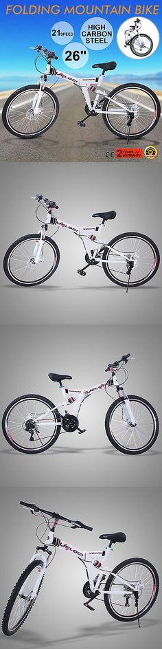 Bicycles 177831: 26 Folding Mountain Bike 21 Speed Mtb Bicycle Foldable White Men S Bike Shimano -> BUY IT NOW ONLY: $120 on eBay!
