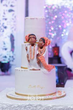 Toyin & Pastor Poju Oyemade | BellaNaija Weddings February 2015 | Yoruba Wedding in Lagos, Nigeria. Traditional Nigerian wedding cake. coral beads. couple topper. Cake by @cakesbytayo