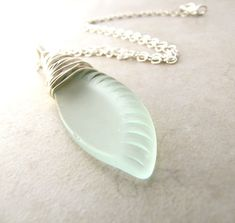 Sea Glass Seaglass Necklace Aqua Eco Recycled by BellinaCreations, $30.00